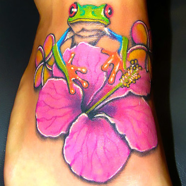 Frog and Flower on Foot Tattoo