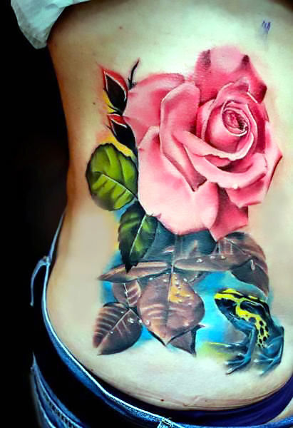 Frog and Flower Rose Tattoo Idea