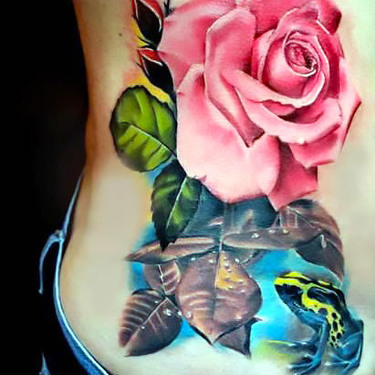 Frog and Flower Rose Tattoo