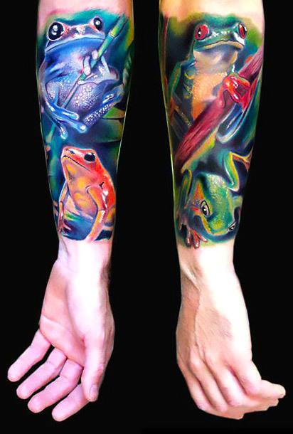 Frogs Sleeve Tattoo Idea