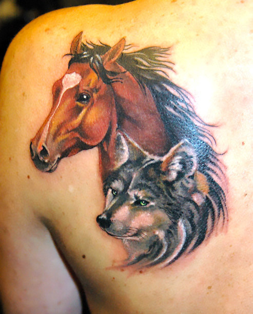 Horse and Wolf Tattoo Idea