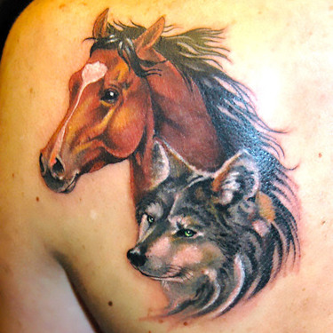 Horse and Wolf Tattoo