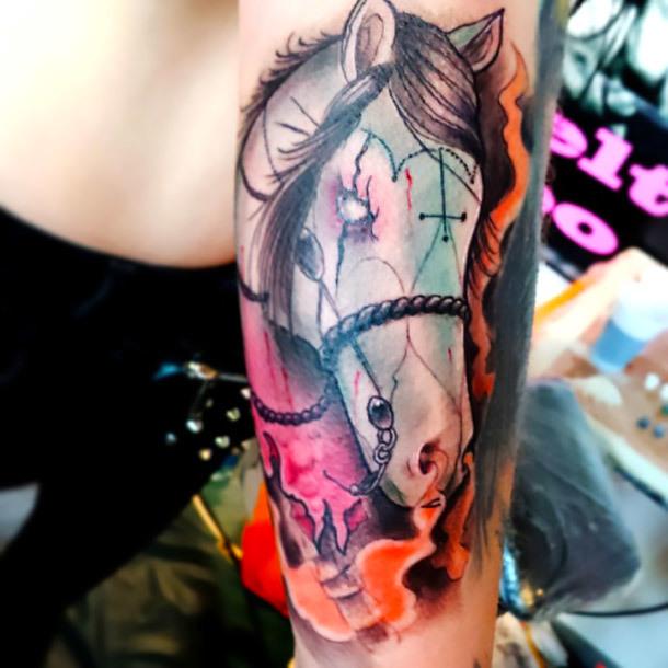 Horse Head Tattoo Idea