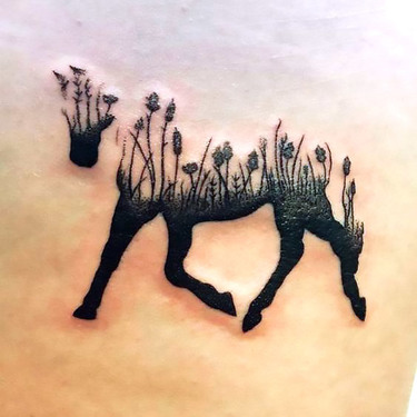 Horse Silhouette Flowers Tattoo