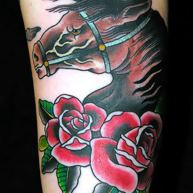 Horse Head and Roses Tattoo