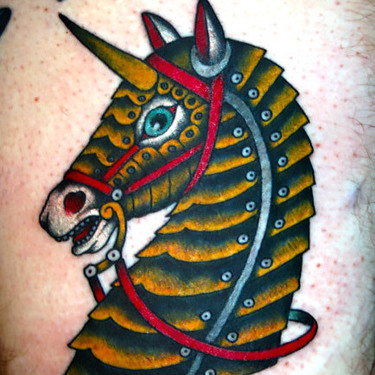 Iron Horse Head Tattoo