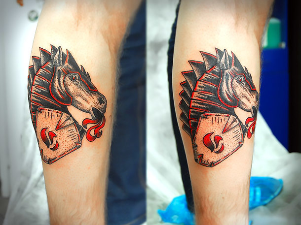Iron Horse Head Black and Red Tattoo Idea