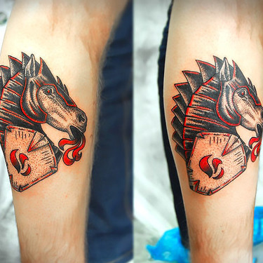 Iron Horse Head Black and Red Tattoo