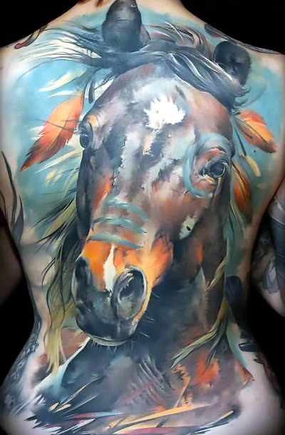 Native American Horse Tattoo Idea