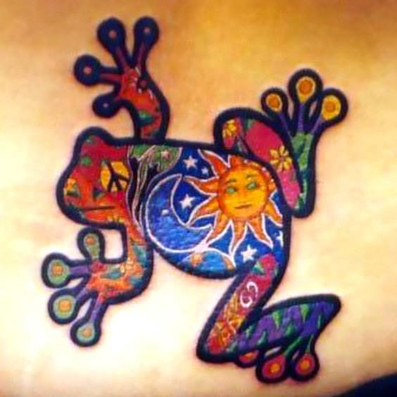 Colored Peace Frog Tattoo Idea