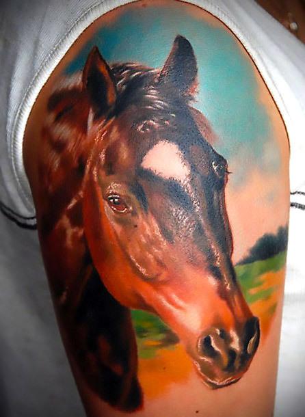 Realistic Horse Tattoo Idea