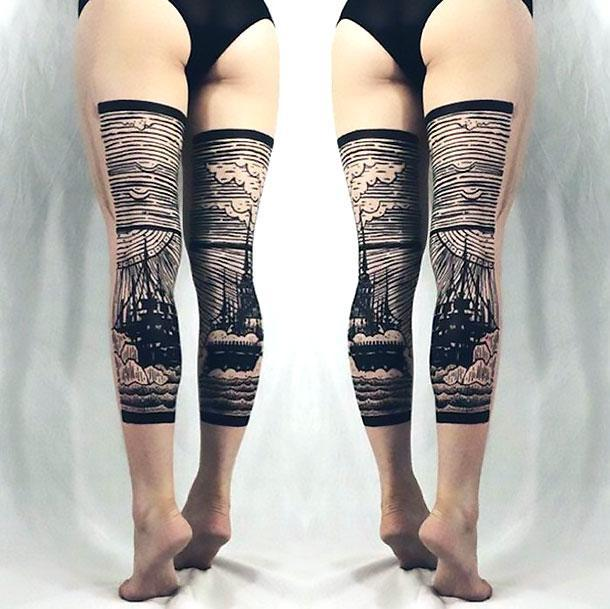 Best Back of Leg Tattoo Idea