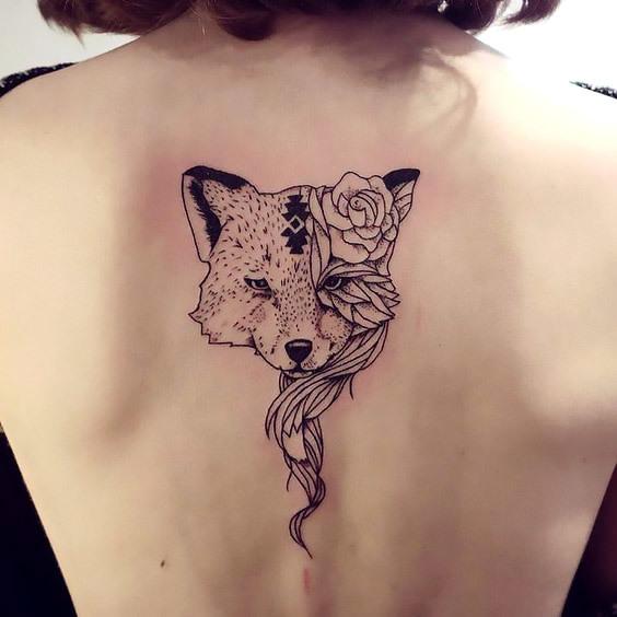 Rose Fox Face on Back Tattoo Idea
