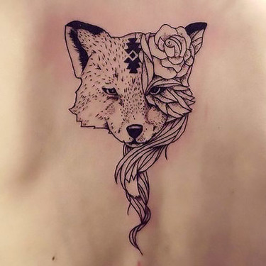 Rose Fox Face on Back Tattoo