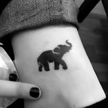 Small Elephant on Ankle Tattoo