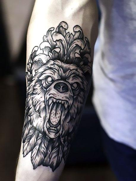 Best Bear on Forearm Tattoo Idea