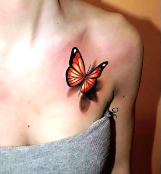 Orange 3D Butterfly Tattoo Idea