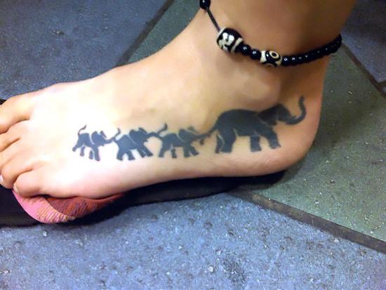 Elephant Family Foot Tattoo Idea