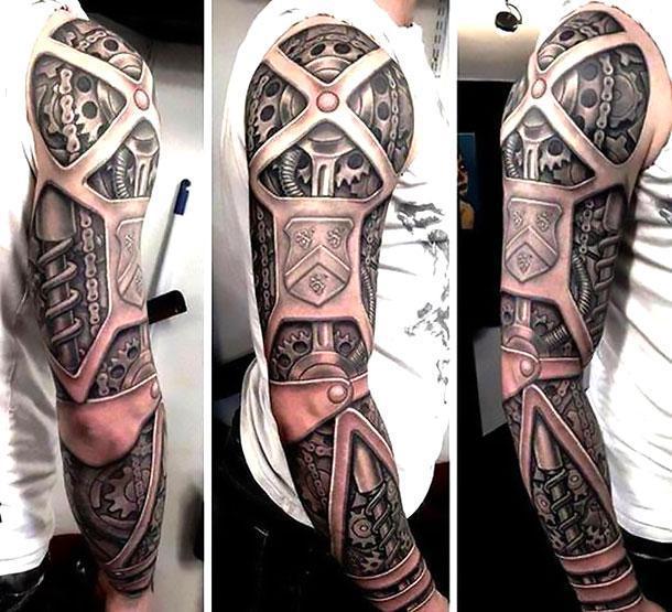 Best Biomechanical Arm Tattoo Idea