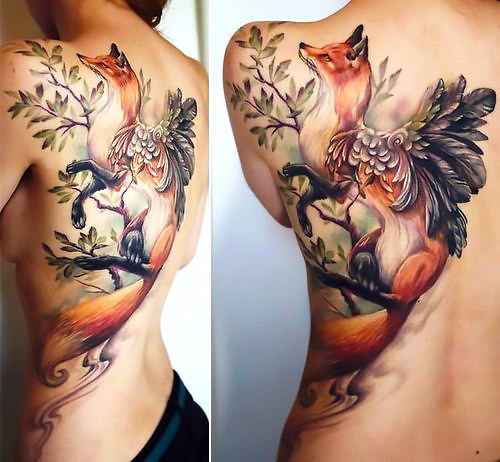 Best Fox With Wings Tattoo Idea