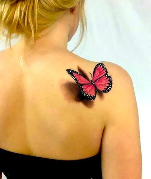 Pink 3D Butterfly on Shoulder Tattoo Idea