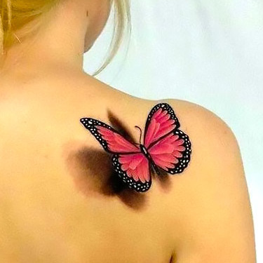 Pink 3D Butterfly on Shoulder Tattoo
