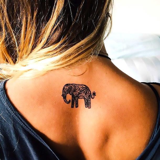 Tiny Hindu Elephant Tattoo Idea
