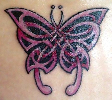 Pink Celtic Butterfly Tattoo Idea