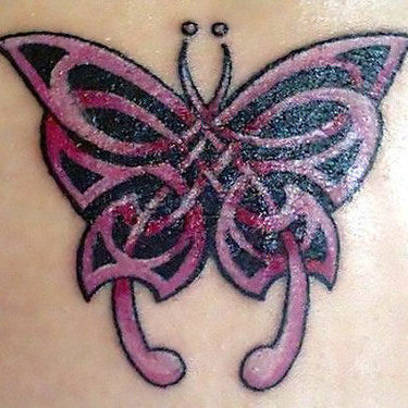Pink Celtic Butterfly Tattoo
