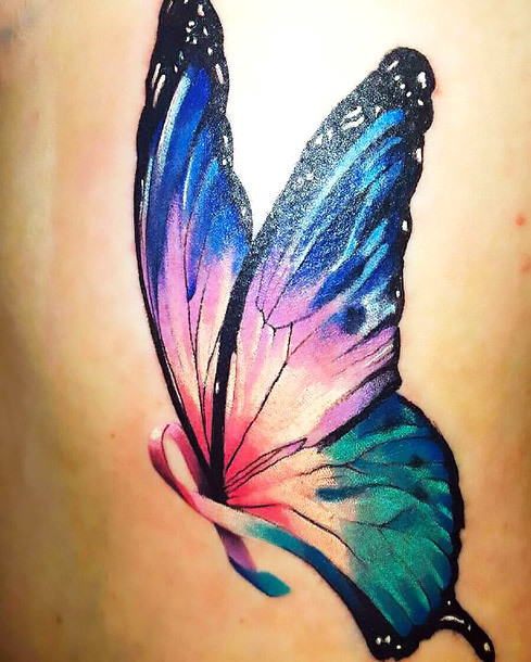Pretty Butterfly Cancer Ribbon Tattoo Idea