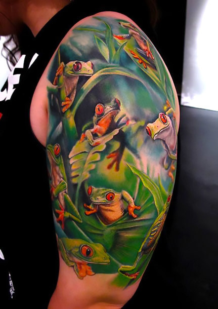 Tree Frogs Sleeve Tattoo Idea