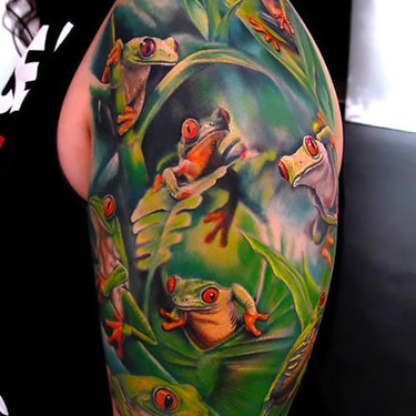 Tree Frogs Sleeve Tattoo