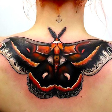 Best Psychedelic Moth Tattoo