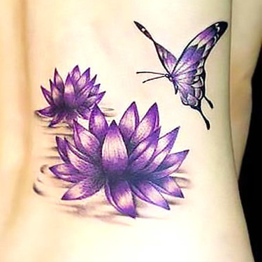 Purple Butterfly and Lotus Tattoo