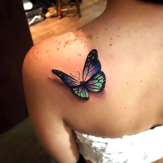 Realistic 3D Butterfly Tattoo Idea