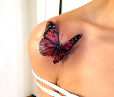 Red 3D Butterfly Tattoo Idea