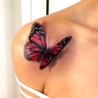 Red 3D Butterfly Tattoo