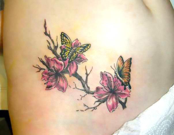 Sakura Flowers and Butterfly Tattoo Idea