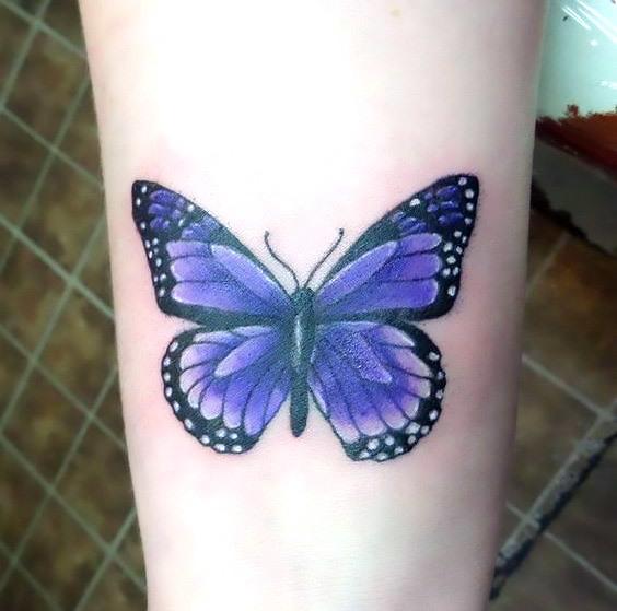 Simple Purple Butterfly Tattoo Idea