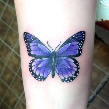 Simple Purple Butterfly Tattoo