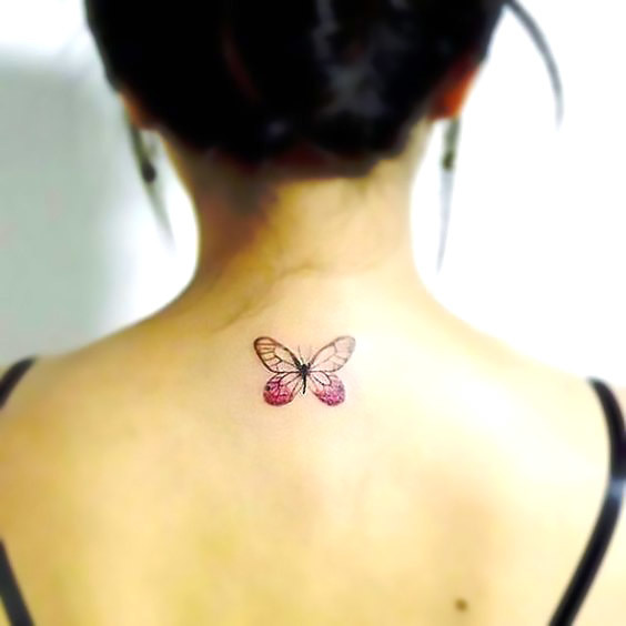 Small Butterfly on The Back Tattoo Idea