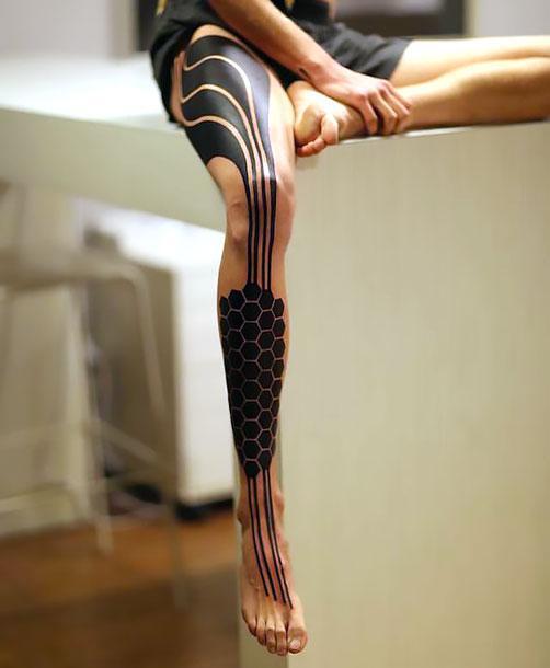 Best Blackwork Leg Tattoo Idea