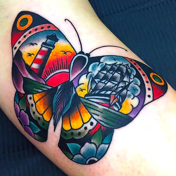 Traditional Butterfly With Ship  Tattoo Idea