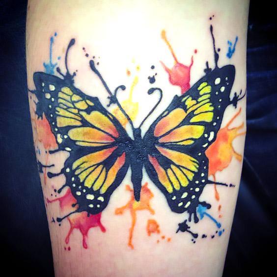 Watercolour Monarch Butterfly Tattoo Idea