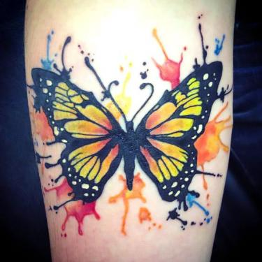 Watercolour Monarch Butterfly Tattoo