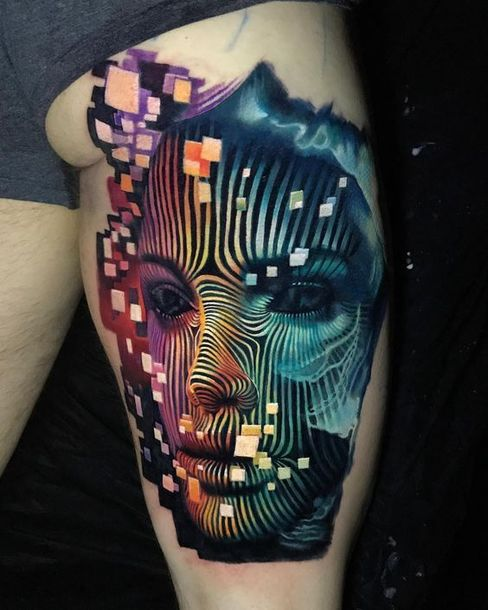 Colorful Abstract Girl's Face  Tattoo Idea