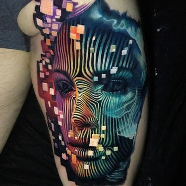 Colorful Abstract Girl's Face  Tattoo