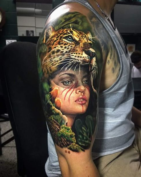 Girl with Cheetah Hat Tattoo Idea