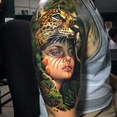 Girl with Cheetah Hat Tattoo