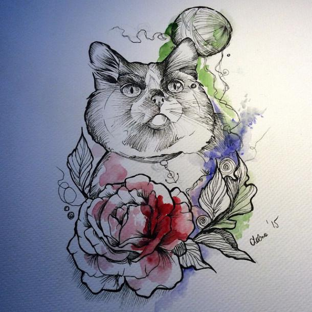 Best Watercolor Cat Tattoo Design